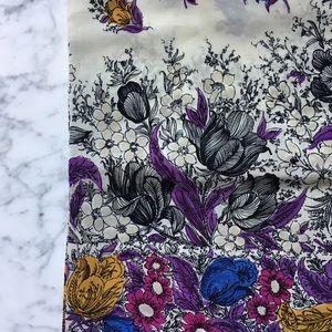Vintage 50s Silk Floral Print Scarf